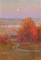 autumn moonrise by walter launt palmer