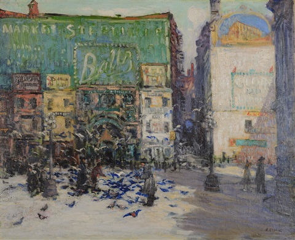 feeding pigeons in market square, philadelphia by frederick r. wagner