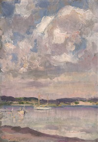sailboats on peconic bay, long island by irving ramsey wiles