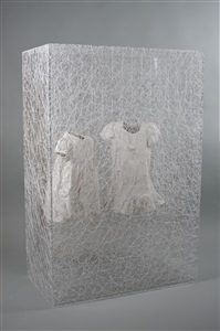 state of being (two children's dress) by chiharu shiota