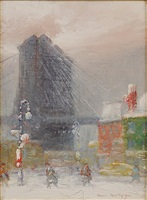 brooklyn bridge in snow by johann berthelsen
