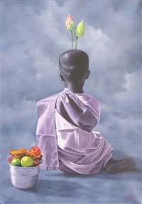 young nun with lotus by aung kyaw htet