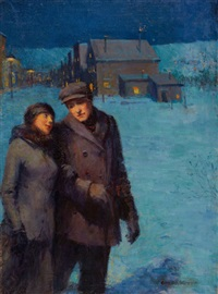 winter evening stroll by george william gage