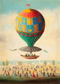 bidding farewell in a hot air balloon by victor philippe francois lemoine-benoit