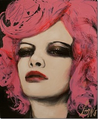 face with pink hair by joanne corno