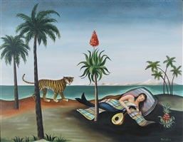 sleeping mermaid and tiger by martha cahoon