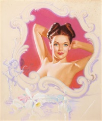 pin-up with orchids by knute o. munson