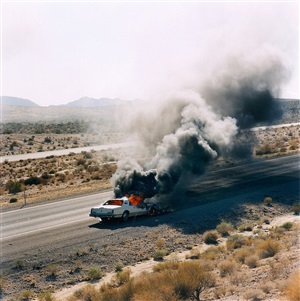 burning car i-40, needles, ca by jeff brouws
