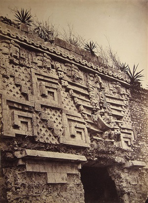 uxmal: detail of the main doorway of the palais du gouverneur a uxmal, from cities et ruines americaines (pl. 47) by désiré charnay