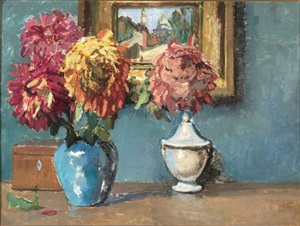 still life with chrysanthemums and a view of montmartre by kees van dongen