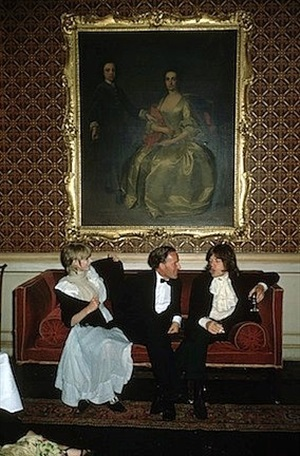 pop and society: marianne faithful, desmond guinness, and mick jagger at castletown mansion, ireland by slim aarons