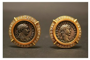 gold/diamond earings featuring coin of roman emperor trajan - mt.116