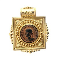 21 karat gold pendant with a bronze coin of roman emperor constantine ii - fj.4534