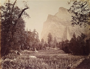 the bridal veil, 900 ft., view from the coutterville trail by carleton e. watkins