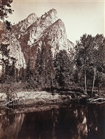 three brothers, yosemite by carleton e. watkins