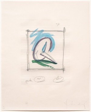 sketch for a sculpture in the form of a steel tack (also known as 'tack'), from marginalia: hommage to shimizu by claes oldenburg