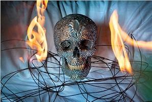 calavera con fuego by marcos lópez