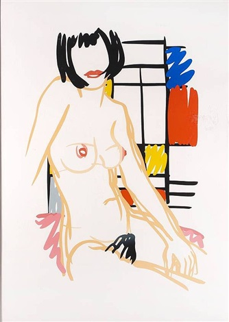 monica sitting with mondrian by tom wesselmann