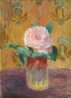 rose in a glass by william glackens