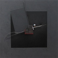 steel painting, black square #5 by fletcher benton