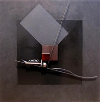 steel painting, black square #16 by fletcher benton