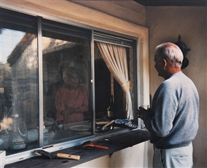 """conversation through kitchen window (from """"pictures from home"""") by larry sultan"""