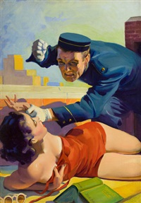 romantic detective cover by hugh j. ward