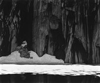 frozen lake and cliffs, sierra nevada, sequoia national park, california by ansel adams