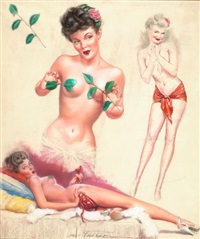 pin-up with leaves by earl macpherson