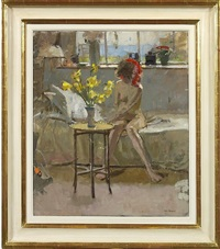 female nude with daffodils by ken howard