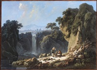 a landscape with peasants resting their flock beside a waterfall by jean baptiste pillement