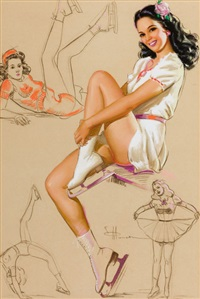 pin-up on skates, artist's sketch pad, calendar illustration by knute o. munson