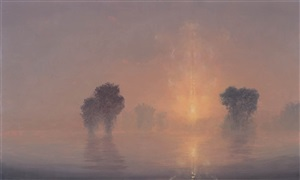 flooded river / summer dawn (mass moca #194) by stephen hannock