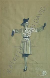 vrouw op groene buvard by luc tuymans
