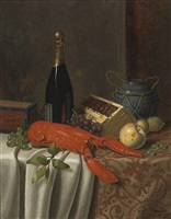still life with lobster by william michael harnett