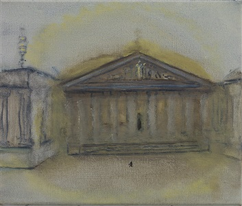 figure approaching the british museum by celia paul