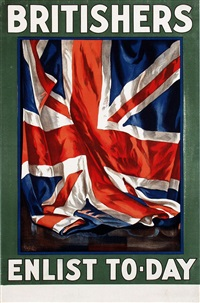 britisher's enlist vintage poster by guy lipscombe