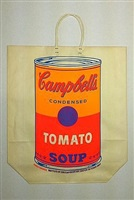 campbell's soup can on shopping bag by andy warhol