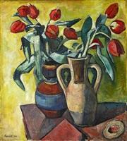 stilleben v (zwei vasen mit tulpen) by alexander kanoldt