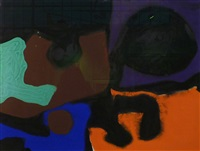 four square baroque: black, emerald, orange, blue, brown, violet by patrick heron