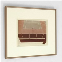 tennis court by david hockney