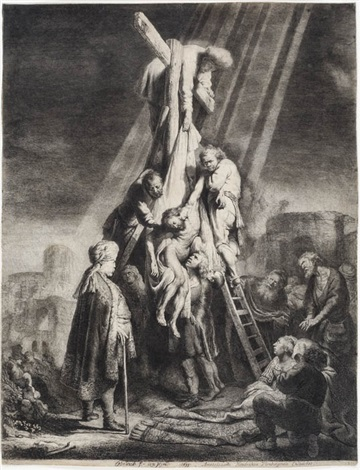 descent from the cross: second plate by rembrandt van rijn