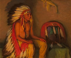 war chief, firelight by joseph henry sharp