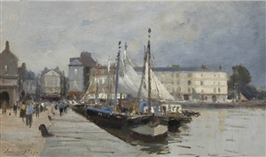 the fish quay, honfleur by edward seago