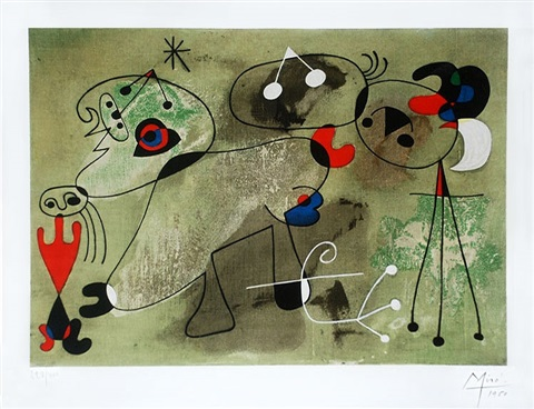 untitled woman and dog from the series of paintings known as 'slow paintings' by joan miró