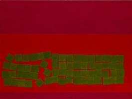 olive squares over vermillion by wilhelmina barns-graham