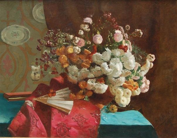 bouquet de fleurs et éventail by joseph augustin fontan