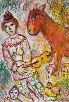 le clown violoniste et l'âne rouge by marc chagall