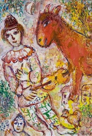 le clown violoniste et l'âne rouge by marc chagall