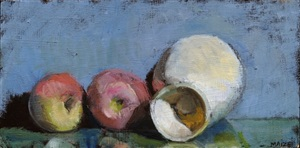 egg cup and 2 apples by catherine maize